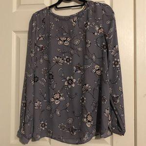 Beautiful mauve floral LOFT blouse L